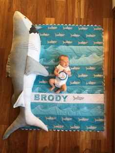 Brody at one month with shark baby quilt and shark . All credit to the epic skills of Anita De Lang Baby Boy Quilts, Baby Boy Rooms, Baby Boy Nurseries, Shark Nursery, Ocean Nursery, Baby Pictures, Baby Photos, Baby Hai, Baby Time