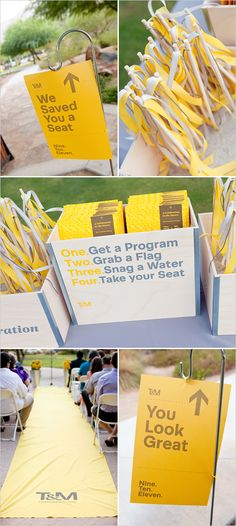 awesome display of design by two graphic designers for their wedding.