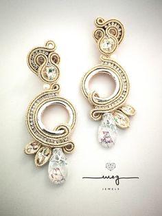 Funky Earrings, White Earrings, Beaded Earrings, Soutache Pendant, Soutache Necklace, Shibori, Boho Jewelry, Bridal Jewelry, Soutache Tutorial