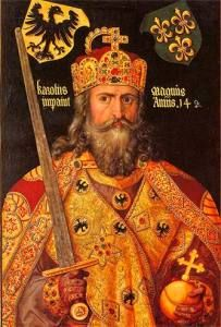 The crown of Charlemagne, crowned the first Holy Roman Emperor in he's shown wearing it in this 1512 portrait by Albrecht Durer. French History, European History, World History, Art History, Wilhelm Ii, Kaiser Wilhelm, Albrecht Durer, Saint Empire Romain, Kaiser Karl