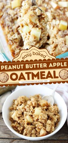 Baked Peanut Butter Apple Oatmeal is a simple breakfast idea that will remind you of your favorite snack! This apple recipe makes great leftovers too. Add this healthy and hearty breakfast to your fall recipes! Apple Oatmeal, Baked Oatmeal, Apple Recipes, Fall Recipes, Delicious Breakfast Recipes, Peanut Butter, Tasty, Snacks, Baking
