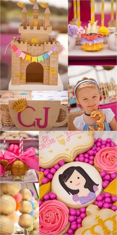 Pink and Gold Princess Tea Party! Gorgeous rainbow accents and beautiful cookies, candy apples, and cake pops.