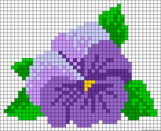 Looks like a pansy to me. Mini Cross Stitch, Beaded Cross Stitch, Cross Stitch Rose, Cross Stitch Flowers, Cross Stitch Charts, Cross Stitch Designs, Cross Stitch Embroidery, Cross Stitch Patterns, Hama Beads Patterns