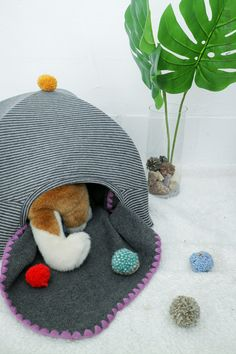 PET HOUSE #diy #craft #dog #cat #upcycling #recycling #pompom #cute #doll