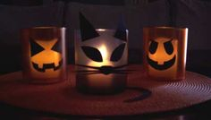 Halloween Votive Candles on a Budget! Colorful plastic glasses, paper cutouts and battery-operated votives are adorable and kid-safe Votive Candles, Diy Videos, Battery Operated, Mantle, Halloween Decorations, Cool Things To Buy, Budget, Plastic, Colorful