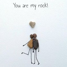 Birthday card husband card anniversary card Pebble card pebble art quirky card unusual card personalised unique you are my rock Stone Crafts, Rock Crafts, Arts And Crafts, Beach Crafts, Kids Crafts, Craft Projects, You Are My Rock, Pebble Pictures, Valentine Theme