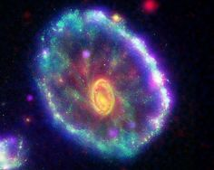 Cartwheel Galaxy, ESO 350-40, is a lenticular galaxy about 500 mly away in the constellation Sculptor. It is an estimated 150,000 light-years across. The galaxy was once a normal spiral galaxy like the Milky Way before it apparently underwent a head-on collision with a smaller companion approximately 200 mya.