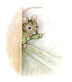 """"""" Voici la souris qui pointe son museau derrière l'armoire ; elle se moque de Mademoiselle Mitoufle. Ce n'est pas une petite chatte qui pourrait lui faire peur ! """" ~ The Tale of Miss Moppet"""