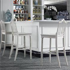 Charleston Regency - Chippendale Bar Stool in Ropemaker's White - 302-21-73 - Stanley Furniture