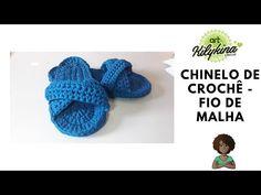 Chinelo de crochê - fio de malha - YouTube Crochet Shoes, Crochet Slippers, Internet, Youtube, Knitted Slippers, Fabric Flip Flops, Knit Slippers, Crochet Leaf Patterns, Crochet Sandals