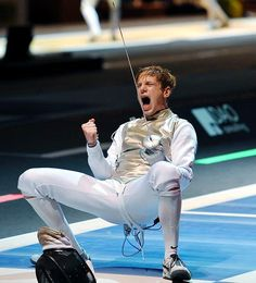 Monday Motivations 7/30: We love this triumphant picture of our Prodigy Race Imboden of Park Slope, the highest-ranked man on the U.S. Olympic fencing team; No. 5 in the world in foil.