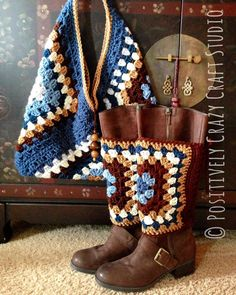 #crochetSF #hippiestyle #bootcuffs #grannysquarebag hand made in California by Positively Crazy Craft Studio