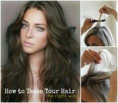 How to Tease Your Hair - Frauen Haar Modelle Hair And Makeup Tips, Hair Makeup, Beauty Balm, Hair Beauty, Hair No More, Teased Hair, Beauty Hacks, Beauty Tips, Beauty Secrets