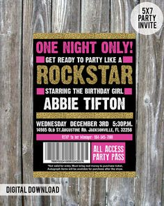Girls Birthday Party Rockstar Invite // Made with Love on Etsy $20.00