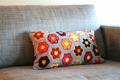 African flower cushion by TangledYARNS.