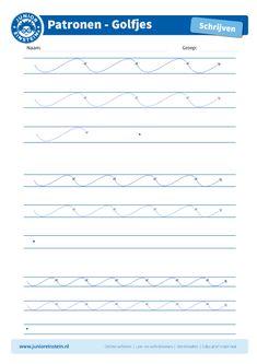Golfjes [4] - Oefen met dit werkblad het leren schrijven van schrijfpatronen. Dit is een goede oefeningen voor je fijne motoriek. Met dit werkblad oefen je schrijfpatroon golfjes. Probeer netjes tussen de lijnen te blijven. Tip: Print ook andere oefenbladen uit en maak een boekje voor al je schrijfpatronen!