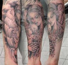 Design Tattoo: Guardian Angel Tattoo Designs Here we have good photo about tattoos of angel designs. We wish these photos can be your fresh. Baby Engel Tattoo, Engel Tattoos, Bild Tattoos, Leg Tattoos, Cloud Tattoos, Angel Sleeve Tattoo, Fallen Angel Tattoo, Guardian Angel Tattoo, Guardian Angels