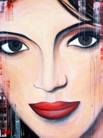 Schilderij Close Up Spanish Woman. Geschilderd met acrylverf met als basis rood.