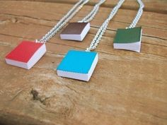 So cool! Bookworm  Real Miniature Book Necklace by SeizeTheNight on Etsy, $10.00