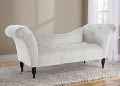 Velvet Tufted Chaise Lounge - White, Skyline Furniture, Chaise Lounges Collection | Home Gallery Stores