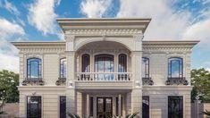 Best villa exteriors Classic House Exterior, Classic House Design, Modern House Design, Flat Roof House, Facade House, Beautiful House Plans, Beautiful Homes, Bathroom Dimensions, Villa Plan