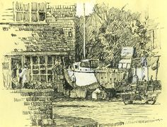 Upnor, Medway, Kent, boat, drawing, pen Rob Adams, Boat Drawing, Jet Ski, Yacht Club, Funny Animals, Vintage World Maps, Ink, Drawings, Nature