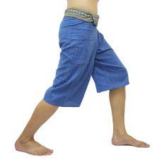 Blue Thai Fisherman Pants Short 3/4 with Thai hand woven fabric on waist side, Wide Leg pants, Wrap pants, Unisex pants  $22.00 Free shipping