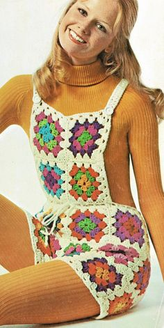 Offering a vintage PDF crochet pattern to make funky, groovy retro granny square shortalls! This 1971 pattern offers full and complete instructions to make this boho project Body Waist Size: Materials: Worsted weight yarn SIZES: Directions for small size Granny Square Häkelanleitung, Granny Square Crochet Pattern, Crochet Granny, Crochet Baby, Knit Crochet, Granny Squares, Crochet Pants Pattern, Pattern Shorts, Crochet Style