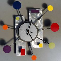modern wall art | Modern wall clock retro art style by Steve Cambronne