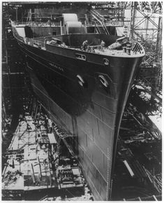 Hull of the SS America under construction at the Newport News Shipyard in 1938