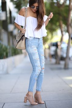8c8151777ca Paola from Blank Itinerary styles her new favorite pair of destroyed denim  with a flowy,. American Eagle Outfitters