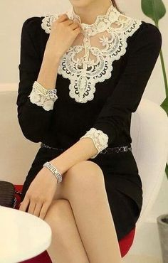 Pretty Victorian lace neckline on this LBD.  Very feminine and pretty! Women's vintage fall winter fashion clothing outfit for the office