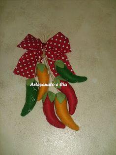 Artesanato e Cia: Pimentas em tecido ou feltro (penquinhas)-molde