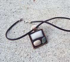 Square Framed Necklace Fused Glass Necklace by FancyThatFusion, $20.00