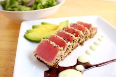 Ahi Tuna Salad with Soy Ginger Reduction & Wasabi Aioli Fancy Dishes, Fish Dishes, Seafood Dishes, Tuna Dishes, Easy Appetizer Recipes, Fish Recipes, Seafood Recipes, Cooking Recipes, Salad Recipes