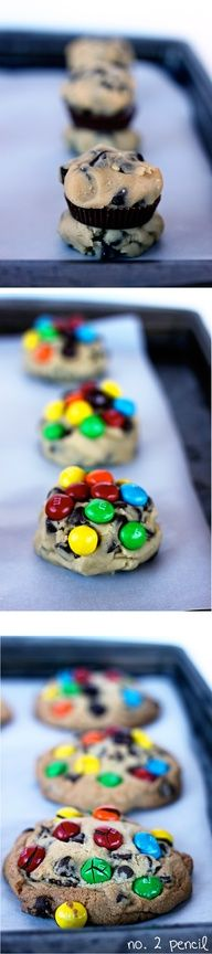 Peanut Butter Cup Stuffed Chocolate Chip Cookies w/Peanut Butter M  Ms