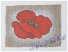Peinture sur toile de lin motif 'coquelicot ' Création