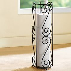 """Toilet Paper/Umbrella Holder: Keep your bathroom looking beautiful and organized or show off your classic style and use this as an umbrella holder! This holder stands on the floor and holds four to five toilet paper rolls. 6"""" dia. x 19""""h. Location ( Organization & Storage - Baskets & Vases)"""