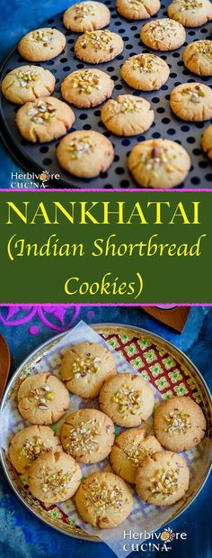Melt-in-the-mouth Indian shortbread cookies; these nuts studded Nankhatais are super yummy when made at home! Indian Dessert Recipes, Indian Sweets, Easy Indian Recipes, Indian Cookies, Vegetarian Recipes, Cooking Recipes, Cooking Ideas, Eggless Baking, Shortbread Cookies