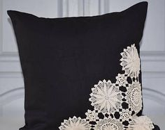 Items similar to Vintage Doily Pillow Black / Ivory on Etsy Crochet Cushion Cover, Crochet Cushions, Crochet Pillow, Crochet Doilies, Bow Pillows, Sewing Pillows, Doily Art, Doilies Crafts, Cushion Cover Designs