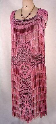 c. 1924 Museum Quality Pink Fully Beaded Fringe Flapper Dress on Black Slip Base