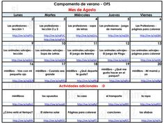 A fun schedule from Spanish Summer Camp!
