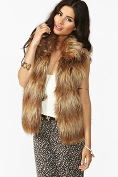 { Erica Faux Fur Vest by Nasty Gal [$68] }