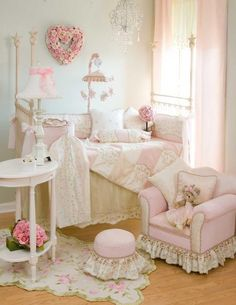 Baby girl nursery . . . love the details including the pink heart on the wall!