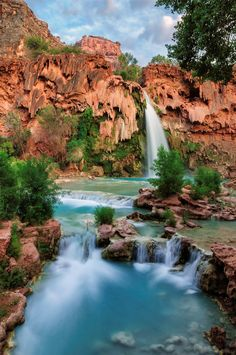 Havasu Falls in Grand Canyon, Arizona Havasu Falls Permit, Havasu Falls Hike, Havasu Falls Arizona, Havasupai Falls, Grand Canyon Arizona, Vacation Places, Vacation Spots, Vacation Ideas, Dream Vacations