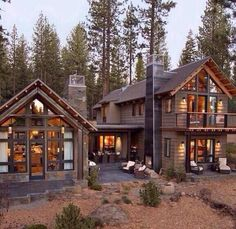 Rustic Home Exteriors 17 Rustic Mountain House Exterior Design Ideas Style Motivation Images Cabins In The Woods, House In The Woods, Cottage In The Woods, Plan Chalet, Hgtv Dream Homes, Rustic Houses Exterior, Cabin Exterior Colors, Rustic Lake Houses, Haus Am See