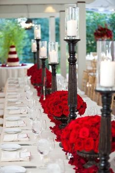 Red, white, and wood table decor