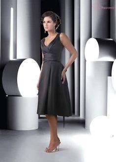 Free Shipping mother of bride dresses Empire V Neck Tea Length Taffeta Wedding Guest Dress 201211081976 $66.34