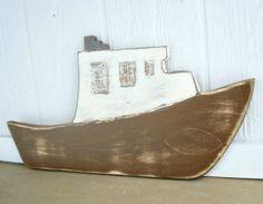 wood boat nautical art fishing boat nautical by folkybirdsandfish, $34.00