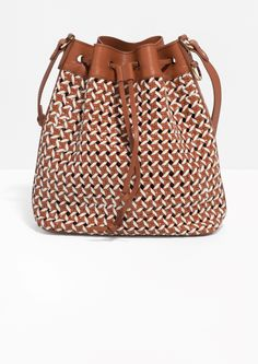 & Other Stories image 1 of Braided Leather Bucket Bag in Brown